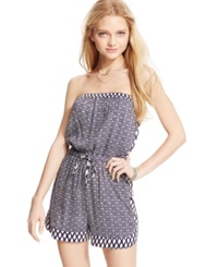 Angie Juniors' Printed Strapless Romper Navy