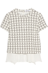 Elizabeth And James Tierney Checked Stretch Knit And Silk Chiffon Top