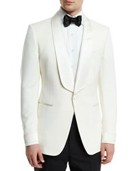 Tom Ford O'connor Base Satin Lapel Wool Jacket Ivory