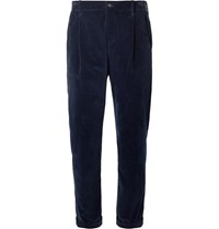Connolly Goodwood Tapered Pleated Cotton Corduroy Trousers Blue