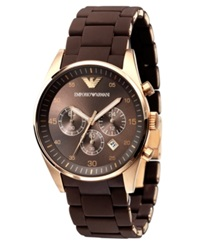 Emporio Armani Watch Men's Brown Silicone Wrapped Gold Tone Stainless Steel Bracelet Ar5890