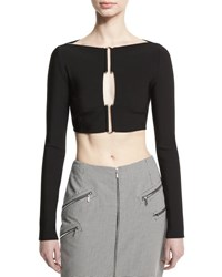 Thierry Mugler Long Sleeve Hook Front Crop Top Black