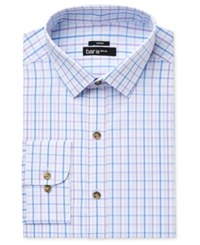 Bar Iii Men's Slim Fit Stretch And Easy Care Purple Double Windowpane Dress Shirt Only At Macy's