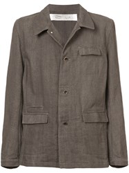 Individual Sentiments Military Style Woven Jacket Grey