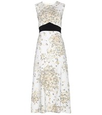 Giambattista Valli Printed Crepe Dress With Applique White