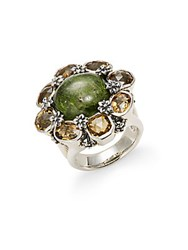Saks Fifth Avenue Diopside And Yellow Quartz Ring Silver