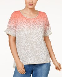 Calvin Klein Plus Size Faux Leather Trim Printed T Shirt Pink Leopard Print