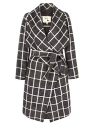 Yumi Checked Waterfall Wrap Coat Grey