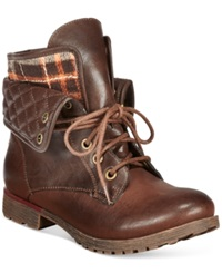 Zigi Rock And Candy Spraypaint Flannel Foldover Lace Up Booties Women's Shoes Brown Flannel