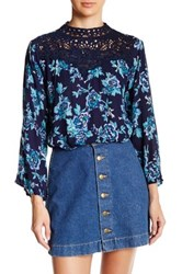 Angie Mock Neck Victorian Blouse Blue