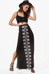 Boohoo Embroidered Woven Full Maxi Skirt Black