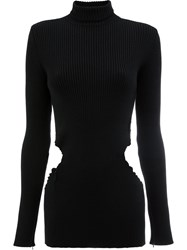 Yang Li Cutout Turtleneck Sweater Virgin Wool Black