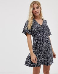 Influence Tea Dress With Tie In Splodge Print Navy And White Polka