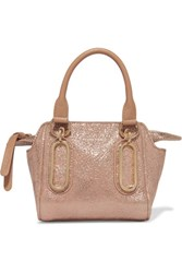 See By Chloe Paige Metallic Textured Leather Shoulder Bag Sand