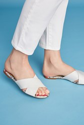 Anthropologie Vicenza Cross Band Slide Sandals White