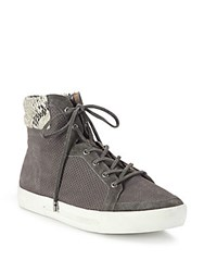 Joie Devon Snake Trim Perforated Suede High Top Sneakers Cinder