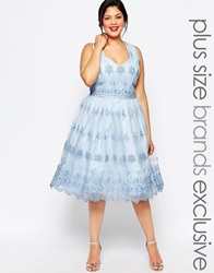 Chi Chi Plus London Midi Tulle Prom Dress With Halter Back With Cross Back Lightblue