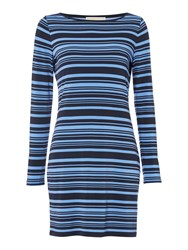 Michael Kors Longsleeve Striped Tunic Dress Blue