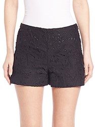Theory Micro Embroidered Lace Shorts Black