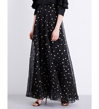 Temperley London Gold Dot Silk Organza Maxi Skirt Black