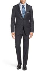 Hickey Freeman Men's Big And Tall 'Beacon' Classic Fit Check Wool Suit Grey