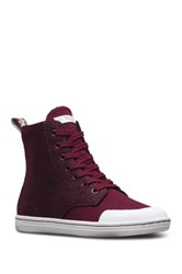 Dr. Martens Hackney Faux Shearling Lined High Top Sneaker Red