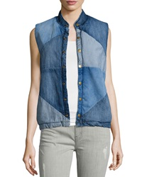 Current Elliott The Puffer Denim Vest Patchwork