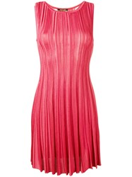 Roberto Cavalli Striped Skater Dress Pink Purple