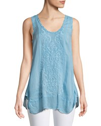 Johnny Was Summer Embroidered Tank Top Bouquet Blue