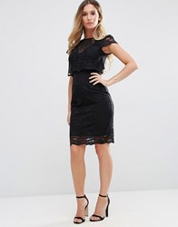 Jessica Wright Lace Overlay Pencil Midi Dress Black