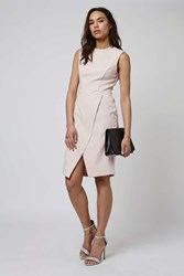Topshop Structured Wrap Dress Pale Pink