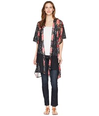 Rock And Roll Cowgirl 1 2 Sleeve Kimono B4 4295 Black Clothing