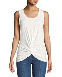 7 For All Mankind Twist Front Racerback Tank White