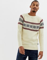D Struct Fair Isle Raglan Jumper White