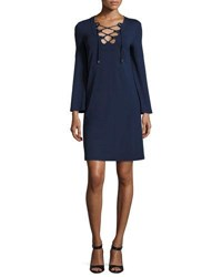 Michael Kors Grommet Lace Up Long Sleeve Tunic Dress Maritime Navy