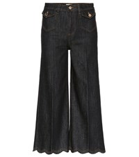 Red Valentino High Waisted Cropped Jeans Blue