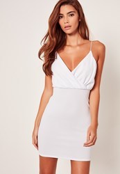 Missguided Strappy Wrap Textured Bodycon Dress White