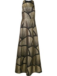 Alice Olivia Metallic Grey Pattern Gown