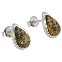 Goldmajor Green Amber Oval Stud Earrings
