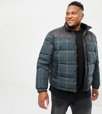 New Look Plus Checked Puffer Jacket In Navy