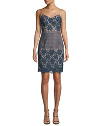 Dress The Population Belle Floral And Dot Lace Mini Blue