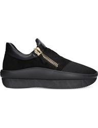 Giuseppe Zanotti Wedge Suede And Leather Trainers Black