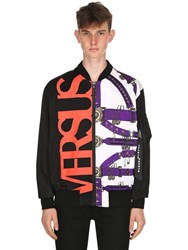Versus Belts And Logo Printed Nylon Bomber Jacket Multicolor
