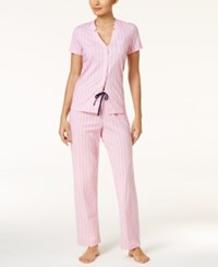 Nautica Inverted Notch Collar Top And Pants Knit Pajama Set Pink
