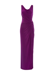 Anoushka G Carla Cowl Front And Back Maxi Jersey Dress Purple