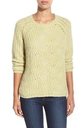 Women's Two By Vince Camuto Cable Stitch Marled Yarn Pullover Acid Yellow