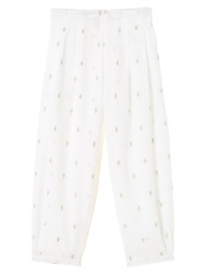East Paisley Cropped Trousers White