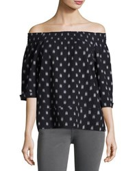 Current Elliott The Smock Dotted Ikat Tee Blue Pattern