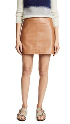 Cupcakes And Cashmere Marrie Leather A Line Skirt Dark Camel