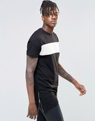 Kubban Denim Side Zp Drapey Longline T Shirt Black